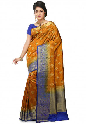 Handloom Art Silk Saree in Dark Mustard