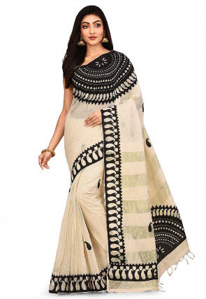 Handloom Art Silk Saree in Light Beige and Black