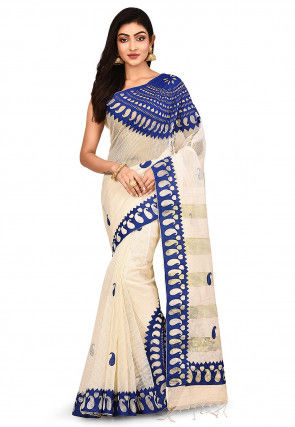 Handloom Art Silk Saree in Light Beige and Blue