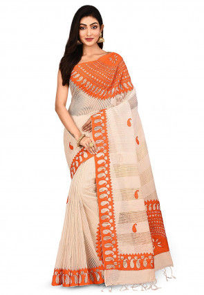 Handloom Art Silk Saree in Light Beige and Orange