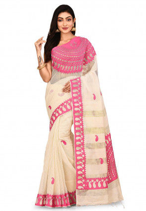 Handloom Art Silk Saree in Light Beige and Pink