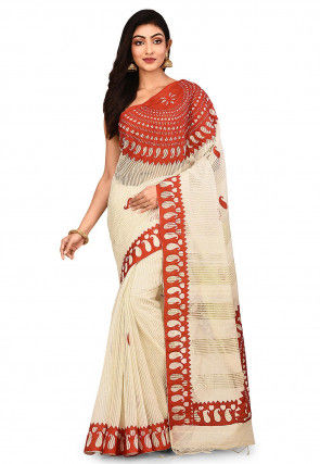 Handloom Art Silk Saree in Light Beige and Red