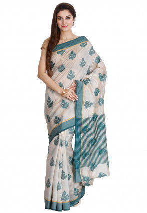 Handloom Art Silk Saree in Off White