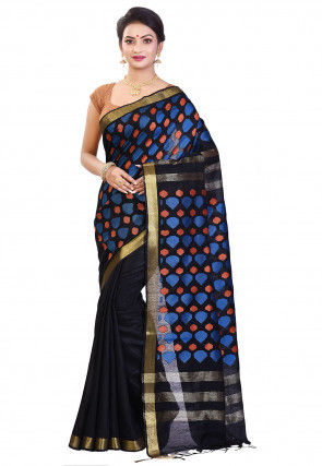 Handloom Bhagalpuri Silk Saree in Black