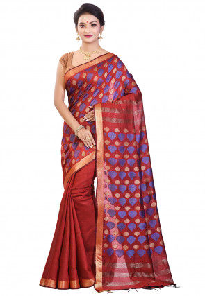 Handloom Bhagalpuri Silk Saree in Red