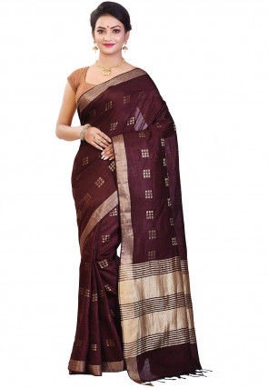 Handloom Bhagalpuri Silk Saree in Wine