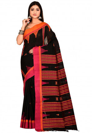 Handloom Cotton Jamdani Saree in Black