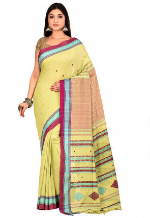 Handloom Cotton Jamdani Saree in Light Green