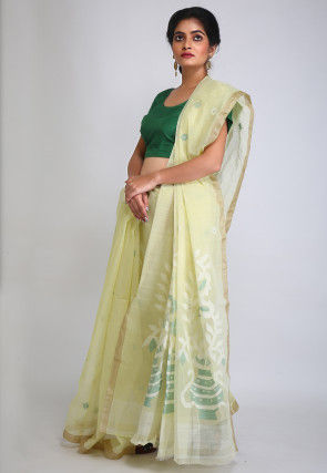 Handloom Cotton Jamdani Saree in Light Yellow
