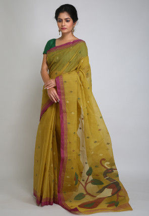 Handloom Cotton Jamdani Saree in Mustard
