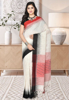 Handloom Cotton Jamdani Saree in White