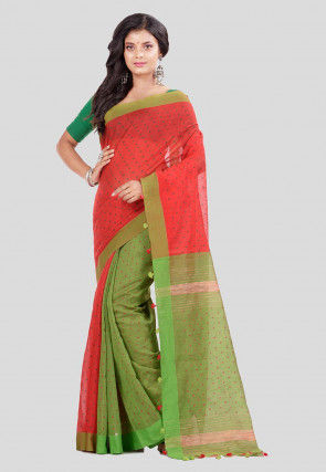 Handloom Cotton Jute Saree in Red and Green
