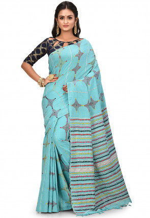 Handloom Cotton Kantha Saree in Light Blue