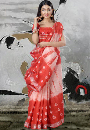 Handloom Cotton Linen Tie N Dye Saree in Red and Off White