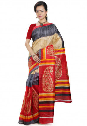 Handloom Cotton Saree in Beige and Red