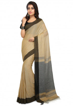 Handloom Cotton Saree in Beige