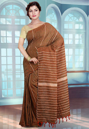 Handloom Cotton Saree in Brown