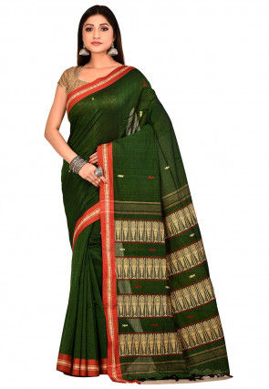 Handloom Cotton Saree in Dark Green