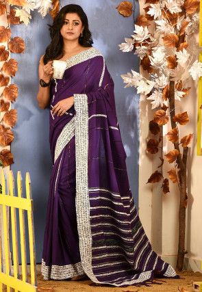 Handloom Cotton Saree in Dark Purple
