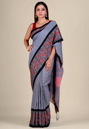 Handloom Cotton Saree in Grey