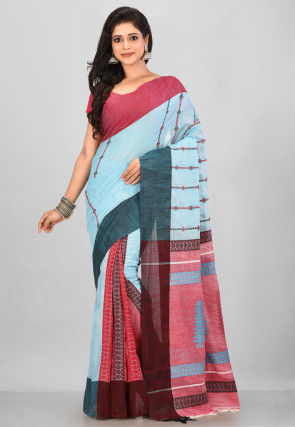 Handloom Cotton Saree in Light Blue and Red