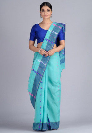 Handloom Cotton Saree in Light Blue