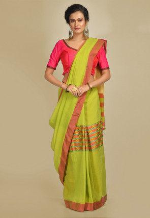 Handloom Cotton Saree in Light Olive Green