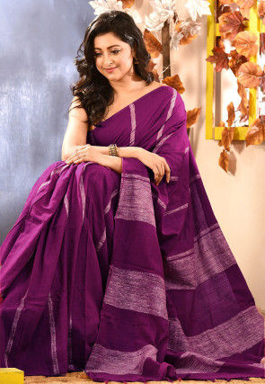 Handloom Cotton Saree in Magenta