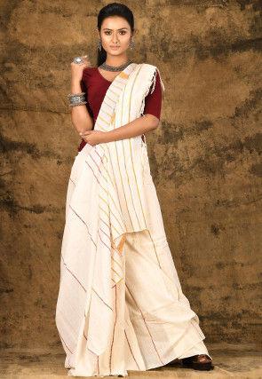 Handloom Cotton Saree in Off White