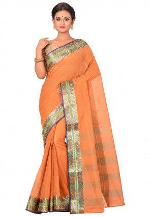 Handloom Cotton Saree in Orange