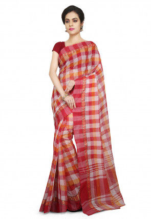 Handloom Cotton Saree in Red and Off White
