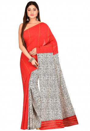 Handloom Cotton Saree in Red and White