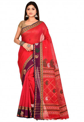 Handloom Cotton Saree in Red