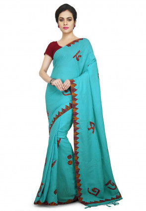 Handloom Cotton Saree in Turquoise