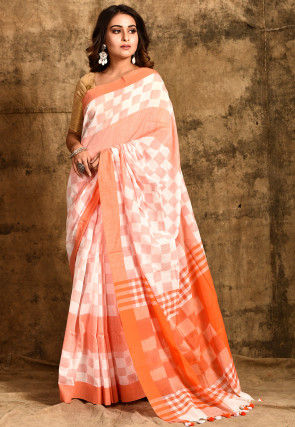Handloom Cotton Saree in White and Orange