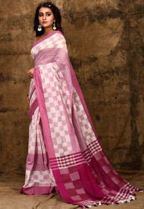Handloom Cotton Saree in White and Pink