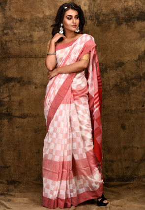 Handloom Cotton Saree in White and Red