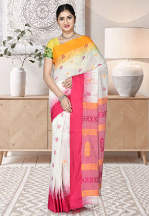 Handloom Cotton Saree in White