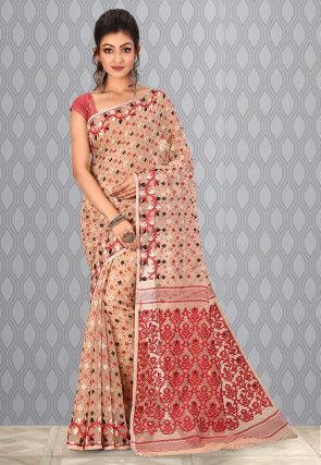 Handloom Cotton Silk Jamdani Saree in Beige