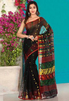 Handloom Cotton Silk Jamdani Saree in Black