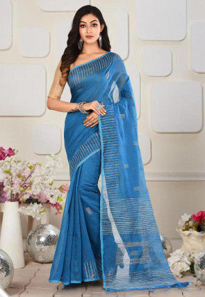 Handloom Cotton Silk Jamdani Saree in Blue