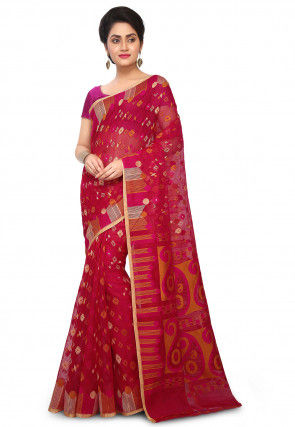 Handloom Cotton Silk Jamdani Saree in Fuchsia