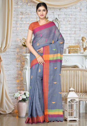 Handloom Cotton Silk Jamdani Saree in Grey