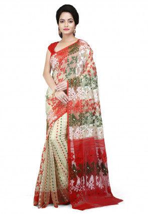 Handloom Cotton Silk Jamdani Saree in Light Beige and Multicolor