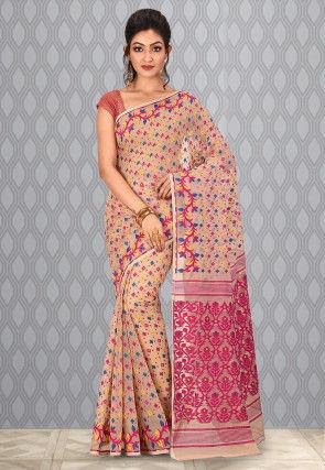 Handloom Cotton Silk Jamdani Saree in Light Beige