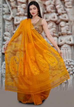Handloom Cotton Silk Jamdani Saree in Mustard