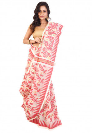 Handloom Cotton Silk Jamdani Saree in Off White and Red