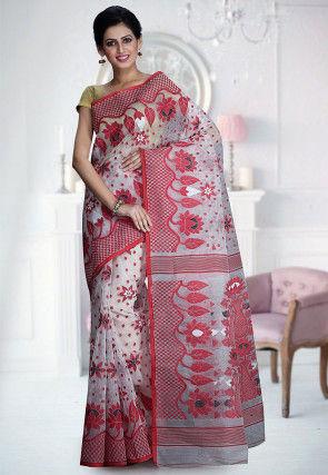 Handloom Cotton Silk Jamdani Saree in Off White