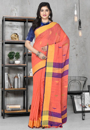 Handloom Cotton Silk Jamdani Saree in Orange