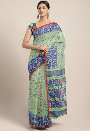 Handloom Cotton Silk Jamdani Saree in Pastel Green